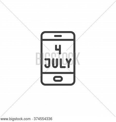 4th July American Independence Day Line Icon. Linear Style Sign For Mobile Concept And Web Design. S