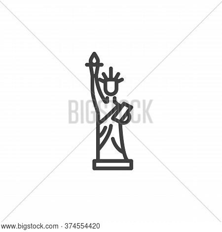 Statue Of Liberty Line Icon. Linear Style Sign For Mobile Concept And Web Design. Usa Liberty Statue