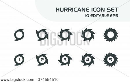Hurricane Categories. Intensity Rates. Isolated Icon Set. Weather And Map Vector Illustration