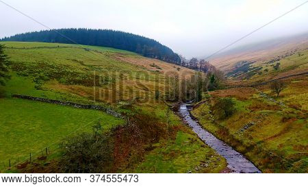 Awesome Landscape Of Brecon Beacons National Park In Wales - Aerial View -aerial Photography