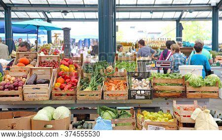 Rovinj, Croatia - October 16, 2014: Vegetables Produce In Crates At Local Farmers Market In Rovinj,