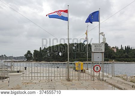 Rovinj, Croatia - October 15, 2014: Official Water Border Crossing Dock Port In Rovinj, Croatia.