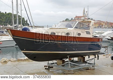 Rovinj, Croatia - October 15, 2014: Motor Boat Apreamare 10 Yacht Out Of Water For Winter In Rovinj,