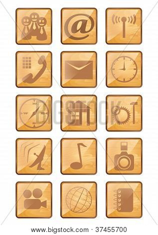 Wooden phone and web icons