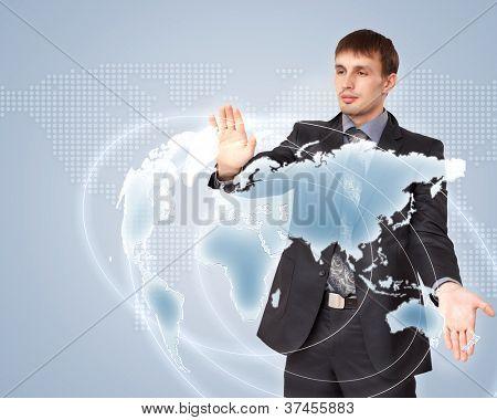 Modern Business World, A businessman navigating virtual world map