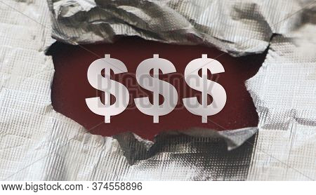 Sign Of Dollar Symbol Under Torn Foil Paper. Business Profit Concept, Revealing Hidden Possibilities