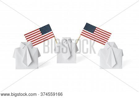 Man Waving American Flags Of Toothpicks. Figure Of Human Holding Usa Banner. Concept Social Movement