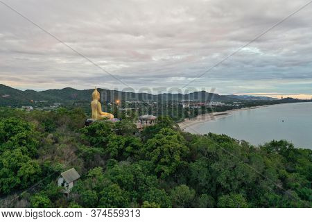 Buddhist Statue Rest Atop The Mountain In Hua Hin Thailand