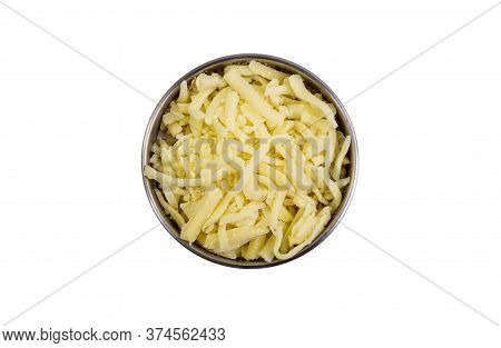 Grated Cheddar Cheese In A Bowl Isolated On White