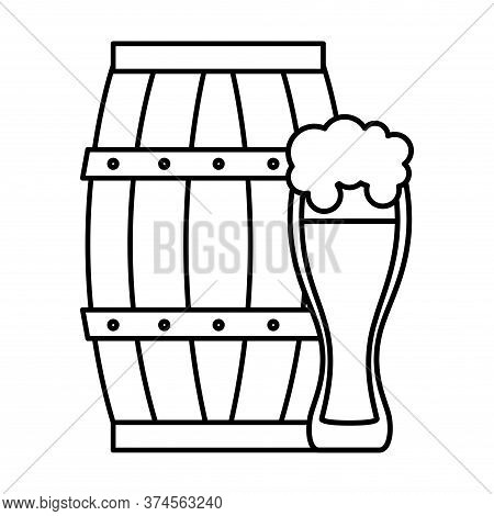 Beer Barrel And Glass Design, Pub Alcohol Bar Brewery Drink Ale And Lager Theme Vector Illustration