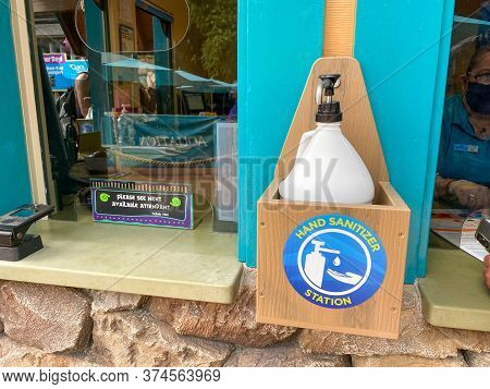 Orlando, Fl/usa - 6/18/10:  A Bottle Of Hand Sanitizer Station At Seaworld Aquatica After The June 2