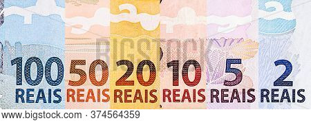 Banknotes Of Money Of Brazil, In Composite. Details Of Notes Of 100, 50, 20, 10, 5 And 2 Reais. Braz