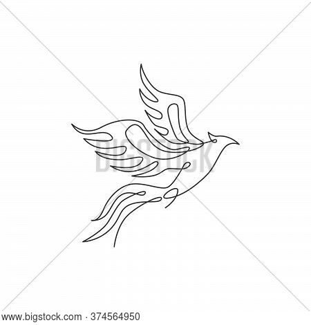 One Single Line Drawing Of Luxury Phoenix Bird For Company Logo Identity. Business Corporation Icon