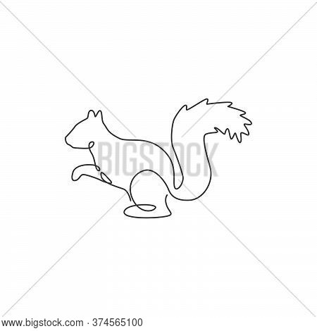 One Continuous Line Drawing Of Cute Squirrel For Company Logo Identity. Business Icon Concept From F