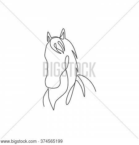 One Single Line Drawing Of Beauty Elegance Horse Head For Company Logo Identity. Cute Pony Horse Mam
