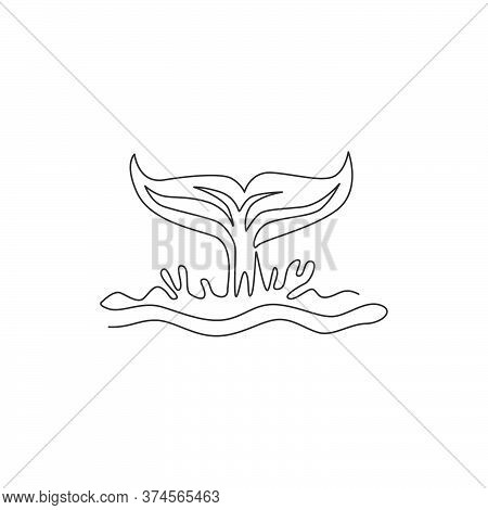 One Continuous Line Drawing Of Giant Tail Whale For Water Aquatic Park Logo Identity. Big Ocean Mamm