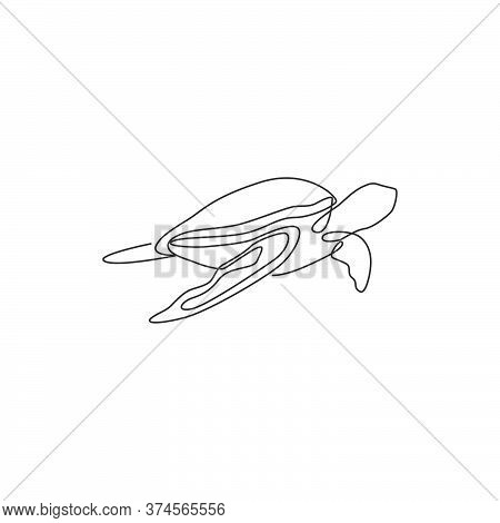 One Continuous Line Drawing Of Wild Sea Turtle For Water Aquatic Park Logo Identity. Cute Ocean Rept