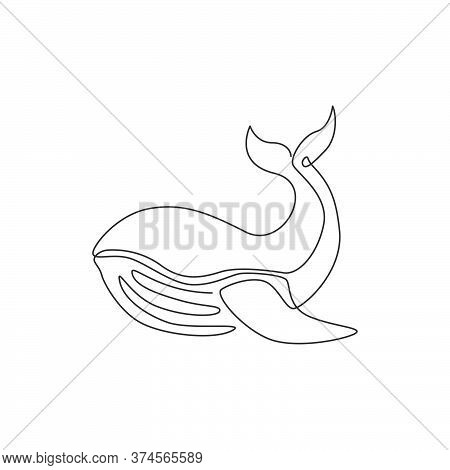 One Continuous Line Drawing Of Giant Whale For Water Aquatic Park Logo Identity. Big Ocean Mammal An