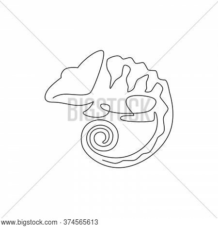 One Continuous Line Drawing Of Beauty Chameleon With Spiral Tail Mascot Concept For Reptilian Pet Lo