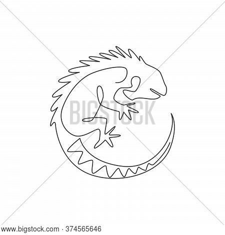 One Continuous Line Drawing Of Beautiful Iguana For Company Logo Identity. Funny Reptilian Animal Ma