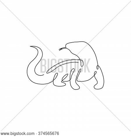 One Continuous Line Drawing Of Dangerous Komodo Dragon For Company Logo Identity. Wild Protected Rep