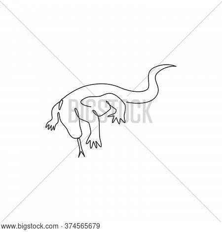 One Single Line Drawing Of Strong Komodo Dragon For Company Logo Identity. Dangerous Predator Animal