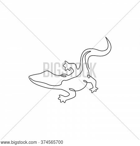 Single Continuous Line Drawing Of Adorable Rock Lizard For Pet Lover Association Logo Identity. Beau