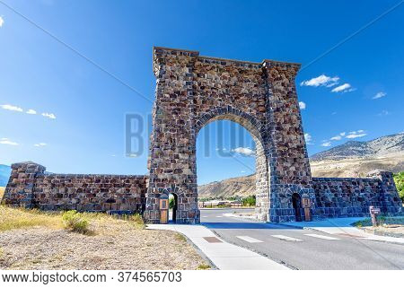 Roosevelt Arch At The North Entrance Of Yellowstone National Park In Gardiner, Montana.