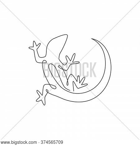 One Single Line Drawing Of Adorable Desert Lizard Reptile For Company Logo Identity. Funny Animal Ma