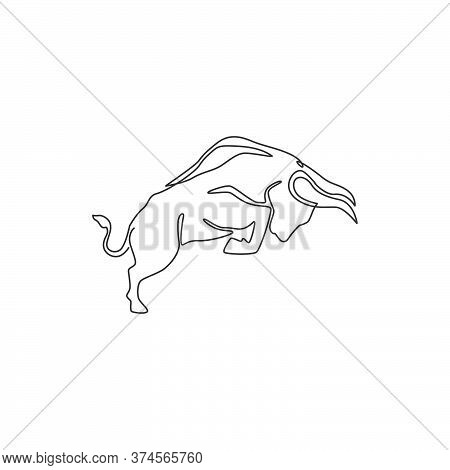 One Single Line Drawing Of Elegance Buffalo For Conservation National Park Logo Identity. Big Strong