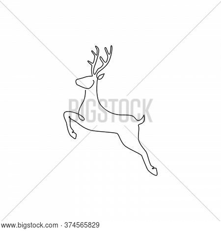 One Continuous Line Drawing Of Jumping Wild Reindeer For National Park Logo Identity. Elegant Buck M