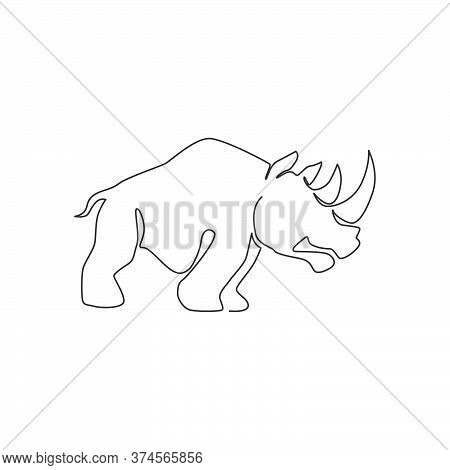 Single Continuous Line Drawing Of Big African Rhinoceros For Conservation National Park Logo Identit