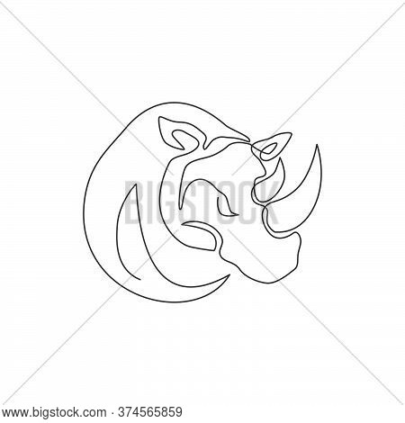 Single Continuous Line Drawing Of Big African Rhinoceros Head For Conservation National Park. Big Af