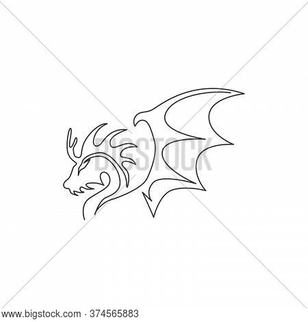 One Single Line Drawing Of Scary Beast Dragon For China Ancient Museum Logo Identity. Legend Fairy T