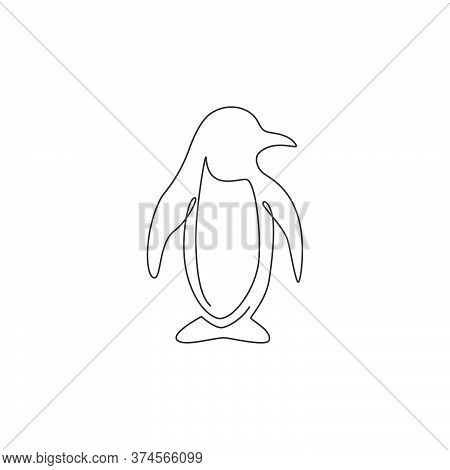 One Single Line Drawing Of Cute Funny Penguin For Company Business Logo Identity. North Pole Bird Ma