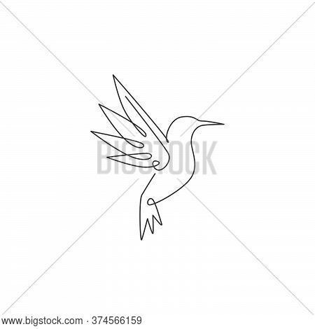 One Single Line Drawing Of Cute Hummingbird For Company Business Logo Identity. Little Beauty Bird M