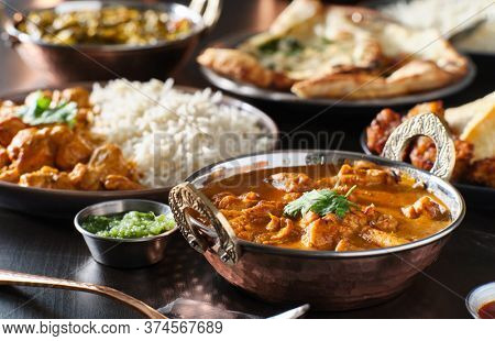 indian chicken tikka masala curry in balti dish