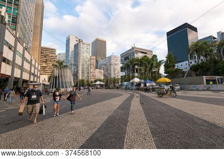 Rio De Janeiro, Brazil - July 2, 2020: Almost Empty Carioca Square In The City Downtown. Before The