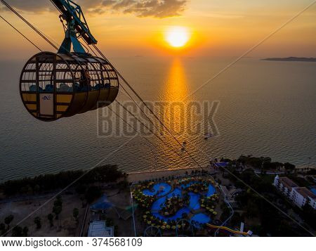 Pattaya, Thailand - December 31, 2019: Sunset Aerial View Of The Pattaya Park And Beach.