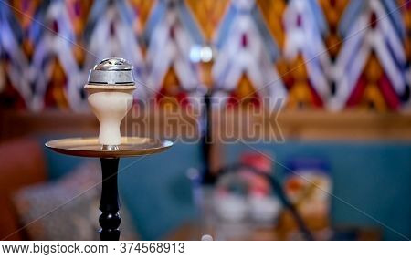 The Top Of The Hookah Bowl In The Traditional Interior Of The Teahouse