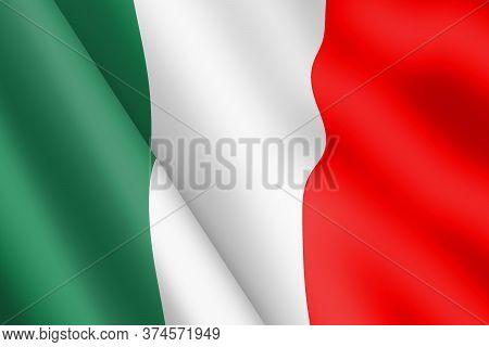 Italy Tricolor Waving Flag Illustration Wind Ripple