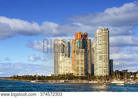 Modern Condominium Towers Along Miami Beach Waterfront