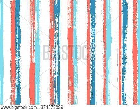 Ink Handdrawn Parallel Lines Vector Seamless Pattern. Cool Kids Clothes Fabric Design. Old Style Tex
