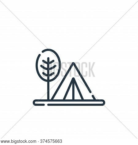 camping tent icon isolated on white background from hippies collection. camping tent icon trendy and