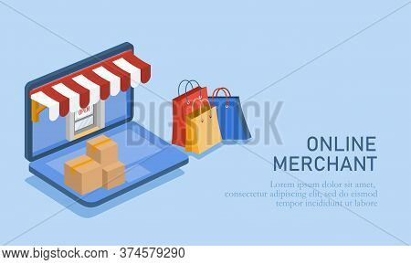 Vector Illustration Of Online Trading. Illustration Of An Online Shop With A Laptop, Shipping Box An