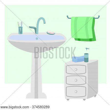 Sanitary Room With Sink, Towels Illustration. Interior Of Bathroom. Hygiene, A Place For Washing Han