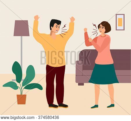 Family Quarrel. Young Couple Quarrel. People Shouting, Quarrel Illustration. Screaming Boy And Girl,