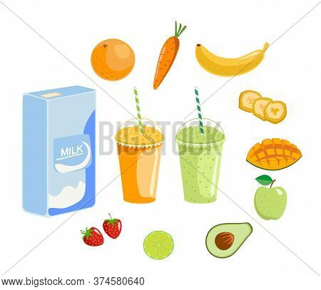 Fruit Smoothies, Fruits And Berries Smoothie Cup With Fresh Fruit And Milk Isolated On White Backgro