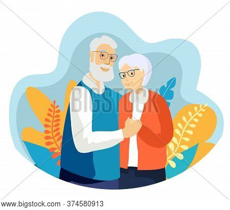 Elderly Couple Smiling. Old Woman And Old Man Couple Embrace Affectionately. Feeling Happy Of Grandp