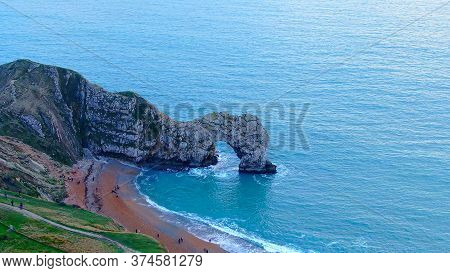 Amazing Durdle Door At The Jurassic Coast Of England - View From Above -aerial Photography